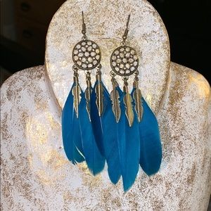 Jewelry - Turquoise feather earrings